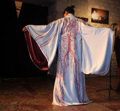 Silk Arterial Kimono, designed by FMR on display at the Nesle Gallery in France.  The exhibit will end with an auction for each kimono to benefit the victims of the Fukushima plant disaster.