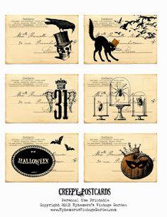 Ephemera's Vintage Garden: Free Weekly Printable - Creepy Postcards