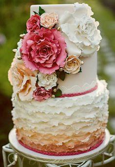 ombre floral wedding cake #wedding #cake #inspiration #detail #flower #ombre #ruffle #hotpink #peach #garden