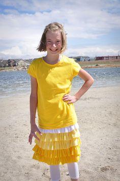 white skirt, ruffl yellow