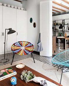 interior design, chair, spanish homes, seat, house interiors, modern houses, barcelona, spain, retro vintage