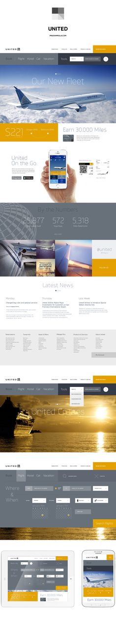 United.com homepage redesign. Personal project.  www.philrampulla.com