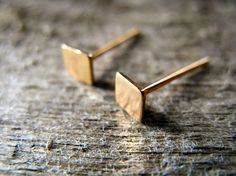 Square Stud Earrings 14k Gold Fill by AutumnEquinox on Etsy, $18.00