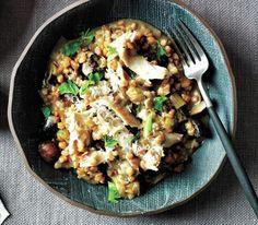Slow Cooker Chicken and Mushroom Farro Risotto