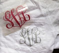 Glitter Heat Transfer Monogram for T Shirts by SunshineVinyl. -- Easily add this to a tshirt or sweatshirt! Super cute!