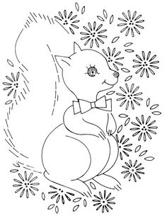 squirrel embroideri pattern, baby quilts, baby embroidery patterns, squirrel