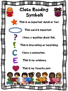 Start Close Reading with your back to school literature and informational text. These annotation symbols charts for Close Reading are a must to introduce and continue to teach close reading! Includes 2 color and 2 blackline masters. You can use these as anchor charts, as posters, for centers, or in your students' close reading folder/notebook.
