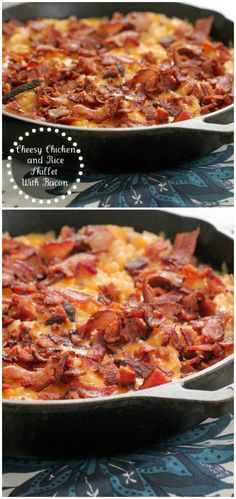 Cheesy Chicken and Rice Skillet with Bacon!