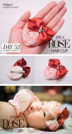 Bow & ROSE hair clip