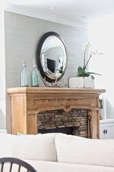 I scored this great rustic white box @HomeGoods.  Add a few orchids and it creates some softness on the mantel.  #homegoodshappy #HomeGoods #sponsored