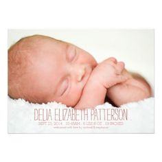 Thoroughly modern and simply elegant, this design features two large photos of your baby girl - one on the front and one on the back. The front also holds baby's important birth information and parents names. Contemporary styled fonts add to the modern look. #baby #birth #announcement #modern #simple #photo #two #photo #pink #rose #girl #front #and #back #large #photo #contemporary #simplicity #casual #typography #bold