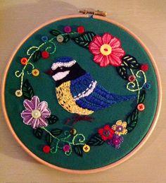 Bird embroidery hoop art