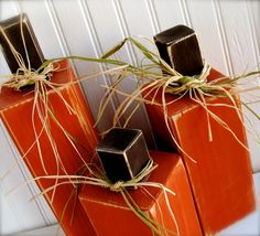 Set of 3 Square Pumpkins  Perfect for fall by doubledutydecor,