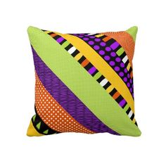 Funky Stripes Abstract Pattern Square Pillow by hhtrendyhome
