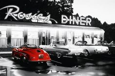 diner decor wall, classic cars, rosi diner, youtube, color splash, diners, juke box, 60s, 50s