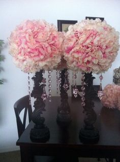 My DIY Rustic and vintage inspired centerpieces :  wedding black blush centerpieces diy flowers ivory pink pomander balls reception rustic spring vintage white Image