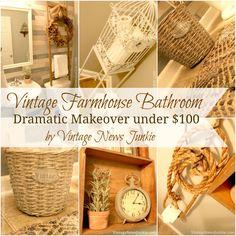 Vintage Farmhouse Bathroom Makeover under $100 by Vintage News Junkie