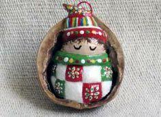 Salt DOugh ornament in a shell shell, salt dough ornaments