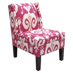 Ikat-print accent chair with exposed pine wood legs and foam cushioning. Handmade in the USA. Product: ChairConstruction ...