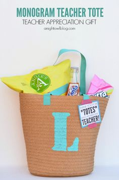 Monogram Teacher Tote for Teacher Appreciation from A Night Owl Blog for Tatertots and Jello