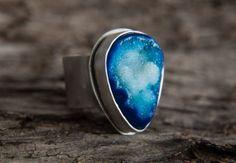 blue druzi, etsi marketplac, thing etsi, artisan jewelri, druzi sterl, jewelri lover, sterling silver rings, etsi fave