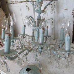 Large brass chandelier 10 arm Shabby elegant by AnitaSperoDesign, $460.00