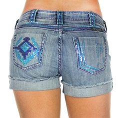 Cowgirl Tuff Women's Aztec Sequin Jean Shorts