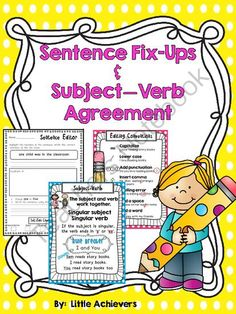 Subject Verb Agreement from Little Achievers on TeachersNotebook.com -  (38 pages)  - If your big learners need practice with subject-verb (S-V) agreement, then give this set a try.
