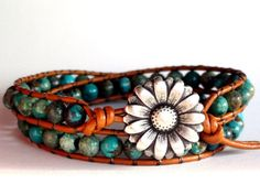 Turquoise Leather Wrap Bracelet by TaphiaDesigns on Etsy