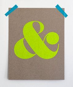 Ampersand Screen Print  - Neon Yellow