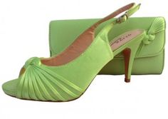 Lime Green Evening Shoes. Lime Green Wedding Shoes and Matching Bag