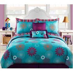 Blue & Purple Teen Girls Twin Comforter Set + BONUS PILLOWS (8 Piece Bed In A Bag)