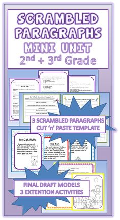 SCRAMBLED PARAGRAPHS~ All paragraphs have five sentences that can only be put together one way. Each one includes a title, a topic sentence, three detail sentences, and a closing sentence, or clincher. Students enjoy this fun and engaging activity, and quickly learn to use transitions and inferential clues to assemble organized, logical paragraphs. Even reluctant writers experience success and gain confidence. With practice, students soon learn to transfer these skills to their own writing. $