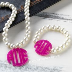 Pink, Pearls and Monogrammed
