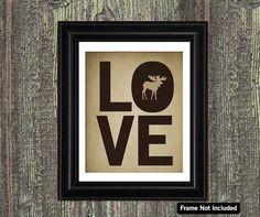 MOOSE Art I LOVE Forest Animals Moose by LittleMommyDesigns, $20.00