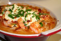 Shrimps saganaki, greek dish