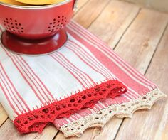 Crochet Edged Tea Towel Pattern - Petals to Picots