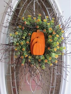 Pumpkin Wreath  Fall Wreath