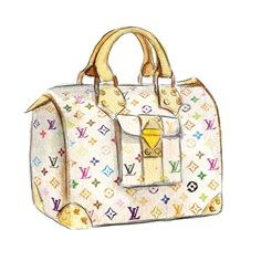 Louis Vuitton, Watercolor Illustration Print, Multi Color Handbag, Art Print. $10,00, via Etsy.