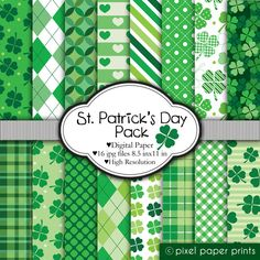 St. Patrick's Day Pack- Digital paper set - For Invitations