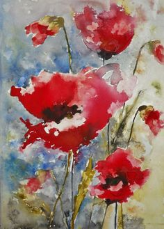 "Saatchi Online Artist: Karin Johannesson; Watercolor, 2013, Painting ""Red Poppies 3"""