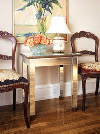 convert a plain table to a DIY Art Deco Style mirrored Table