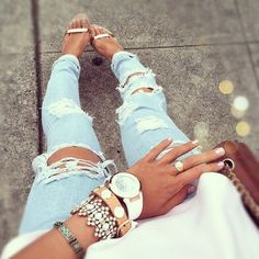 ripped jeans and bracelets. So cute! Total inspiration
