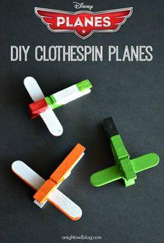 Disney Planes DIY Mini Clothespin Airplanes  #kidscraft #preschool