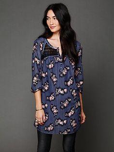 Cute boho tunic. (Free People   Abbey Printed Shirt Dress in Black Combo)