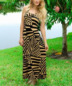 This Black & Tan Geo Prism Racerback Maxi Dress by Modern Touch is perfect! #zulilyfinds