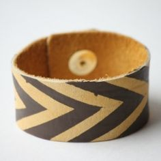 DIY painted leather bracelet. cute and crafty