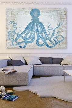 Oliver Gal Squid Blue Canvas Art