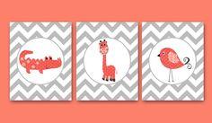 Giraffe Nursery Bird Nursery Baby Girl Nursery decor Children Art Print Baby Nursery Print Nursery Print set of 3 8x10 crocodile rose gray by artbynataera