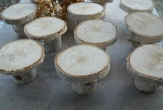 12 Rustic Birch Wood Mini Cake Cupcake Stands - For Weddings, Parties, Valentines Day, Craft displays. $24.50, via Etsy.